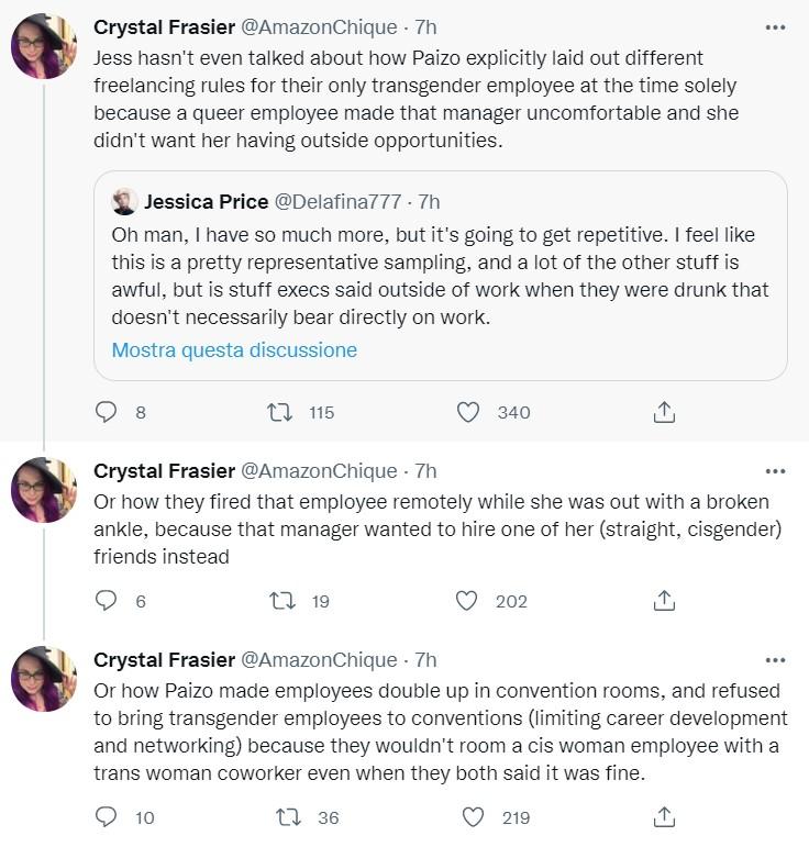I commenti di Crystal Frasier sulle accuse di Price alla Paizo