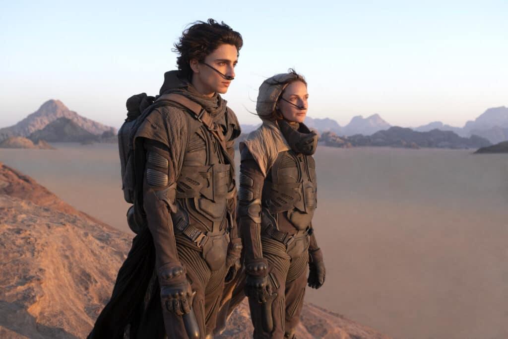 Dune (2021) Una scena con Timothée Chalamet e Rebecca Ferguson
